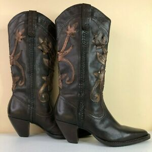 White Mountain Womens Western Mid Calf Boot Dark Brown Leather Pointed Toe 8.5M