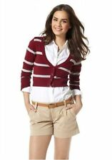 Gestreifte Damen-Pullover & Strickware aus Baumwollmischung mit V-Ausschnitt und Knöpfe