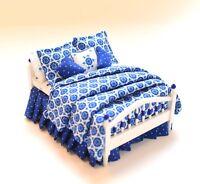 Artisan Bed BLUE & WHITE 1:12 Dollhouse Miniature Furniture Bedroom Engelbreit
