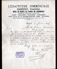 """PARIS (XI°) VENTE de COMMERCES """"Agence L'EXACTITUDE COMMERCIALE / CHANONAT"""" 1905"""