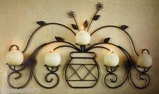 Metal Vase Wall Sconce Decor Candle Votive Pillar Holder Leaf Floral Accent