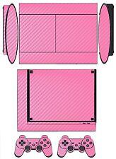 Pink Carbon Fiber Skin Sticker Cover for PS3 Super Slim and 2 controller skins