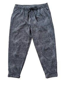 Lululemon Crop Pants Sz 10 Gray Silky Cuffed Drawstring Waist Pockets EUC