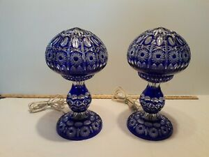 Pair of Bohemian Cobalt cut to Clear Crystal Lamps.