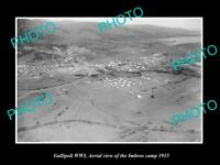 OLD POSTCARD SIZE MILITARY PHOTO WWI GALLIPOLI AERIAL VIEW OF IMBROS CAMP 1915