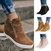 Womens Girls Wedge Hidden Heel Ankle High Top Trainers Sneakers Boots Shoes Size