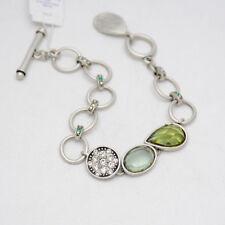 Lia sophia jewelry vintage silver plated cut crystals bracelet toggle bangle