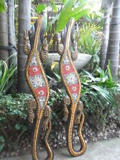 Bali Carved Ghecko Panels x 2pcs wall hanging approx: 80cm