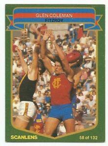 SCANLENS AFL 1985 - No. 58 - Glen Coleman - Fitzroy - near MINT