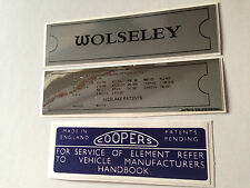 Wolseley Hornet, 1300 & 1500 Engine Decal Sticker Pack Chassis Plate Air Box