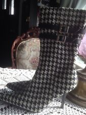 Black White Check Houndstooth Pointy mid Calf Boots Summer Rio 6 larger calves