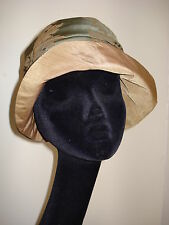 Tan & Sage 1920's Style Cloche Hat NEW HAND MADE ONE OF A KIND ORIGINAL
