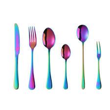 6x Stainless Steel  Flatware Set Cutlery Rainbow Dinner Fork Spoon Teaspoon Gift
