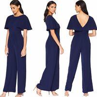 Adelyn Rae Women's Size Small Navy Blue Arabelle Flutter Sleeve V Back Jumpsuit