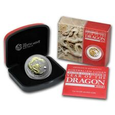 2012 DRAGON LUNAR Perth Mint AUSTRALIA  $ 1 OZ SILVER COIN GILDED BOX & COA