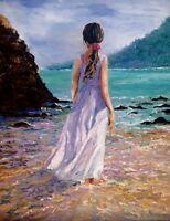 original oil painting girl  By sea ocean beach