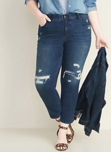 NEW Old Navy Distressed Jeans Power Secret Slim Straight High Rise 28 Plus