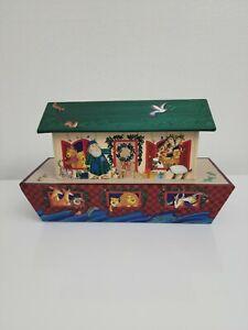 "Hallmark Noah's Ark Box Storage 13"" Christmas Card Holder Lidded"