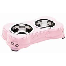 Porta Ciotola decorato Rosa con 2 ciotole incluse per cane e gatto cm 13