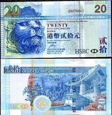 HONG KONG 20 DOLLARS 2008 P 207 ZX REPLACEMENT HSBC UNC