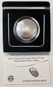 2014-P Baseball HOF GEM BU Commemorative Silver Dollar Original Box w/COA
