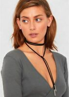 Tie Necklace Gothic Black Faux Suede Cord String Wrap Choker Bolo SILVER Tube