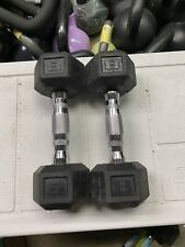 Pair of 8lb Dumbbells 16 Pounds-Home Gym Strength Equipment-Rubber Coated Hex!