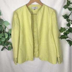 TAHARI Arthur S Levine Citron Green Linen Blend Jacket - Size US14, AU16-18