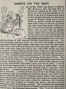 c1845 Antique Victorian Print POLITICS - MR MACAULAY & THE DEBATE ON THE NAVY