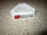 Vintage Milk Glass Advertising Ashtray Say's AAP Longer Lasting Mufflers/Pipes
