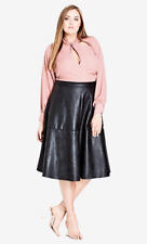 City Chic Black Pleather Faux Leather Zip Back Desk to Dinner Skirt XL 22