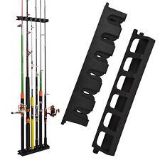Vertical 6-Rod Rack Fishing Pole Holder Wall Mount Gear Organizer Storage Stand