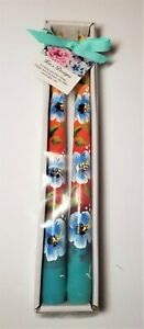 """Tapered Candle Sticks White & Blue Hibiscus Hand Painted 10"""" Set Of 2"""