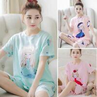 US Women's Sleepwear Cute Cartoon Pajama Set Soft Short Sleeve Loungewear Summer
