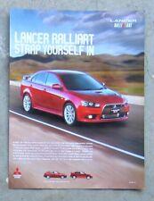 MITSUBISHI LANCER RALLIART 2.0 TURBO Magazine Page Sales Advertisement Brochure