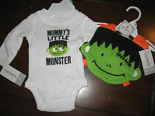 Carters Mommy'S Little Monster Bodysuit Bib Set Boy 2pc Nb Halloween Infant Baby