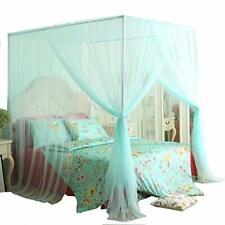 Mengersi 4 Corner Bed Canopy Curtain Net Bed Frame (Queen|Light Green)
