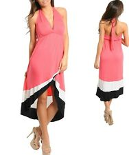 Sz M 10 12 Coral Ivory Black Long Hi Lo Cocktail Formal Party Casual Chic Dress