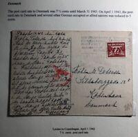 1942 Leiden Netherlands Censored Picture Postcard Cover To Copenhagen Denmark