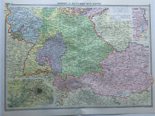 Antique Map Of Germany South West & Austria Berlin 1930 Large