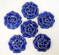 ROSETTE TILES Handmade Ceramic Stoneware Art, Craft Tiles, COBALT BLUE Set of 6