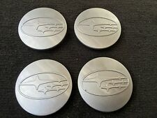 NEW 4 PC SET SUBARU GRAY CENTER WHEEL LOGO HUB 60MM COVER CAPS RIM EMBLEM
