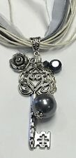 GRAY IVORY RIBBONS NECKLACE BLACK PEARL ROSE BIG SILVER HEART ROYAL KEY PENDANT