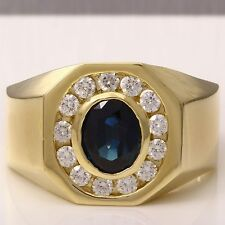 2.35Ct Natural Diamond & Sapphire 14K Solid Yellow Gold Men's Ring