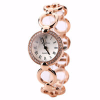 Women's Quartz Analog Wrist Watch Crystal Round Bracelet Black Pointer LadyWatch