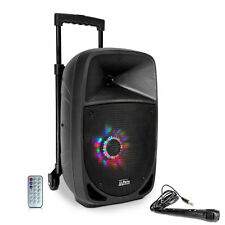 "Mobile Akku Box ""PARTY-8LED"" Lautsprecher LEDs Mikrofon SD USB Bluetooth & Radio"