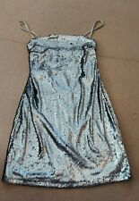 Women's In The Style Black Silver Thin Straps Sequin A-Line Short Dress Size 14