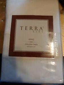 Terra Life Pair (2) King Pillowcases Ivory Microfiber