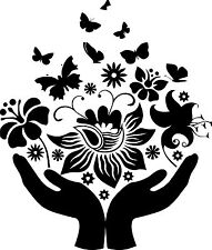 Hand with Butterfly Vinyl Decal