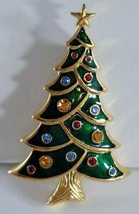 Vintage Christmas Tree  Brooch Pin Signed Swarovski SWAN Crystals Gold Tone RARE